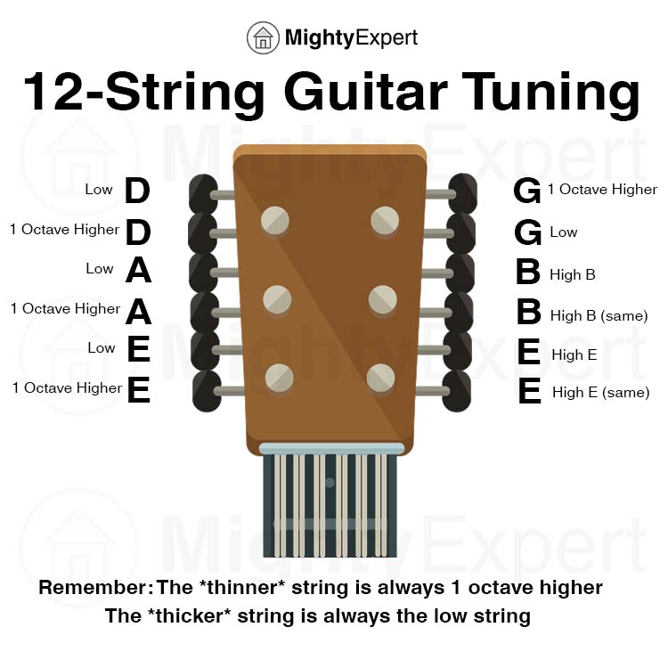12 String Guitar Tuning Diagram - MightyExpert