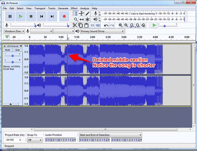 Audacity Deleted Middle Section