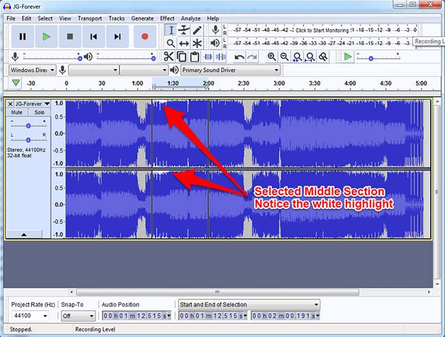 Audacity Highlighted Middle Section