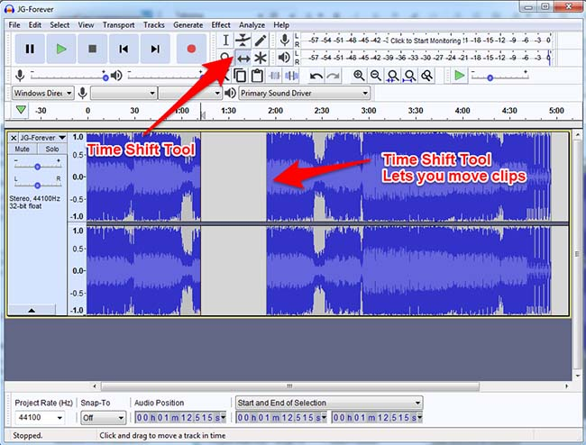 Audacity Time Shift Tool Moving Clips