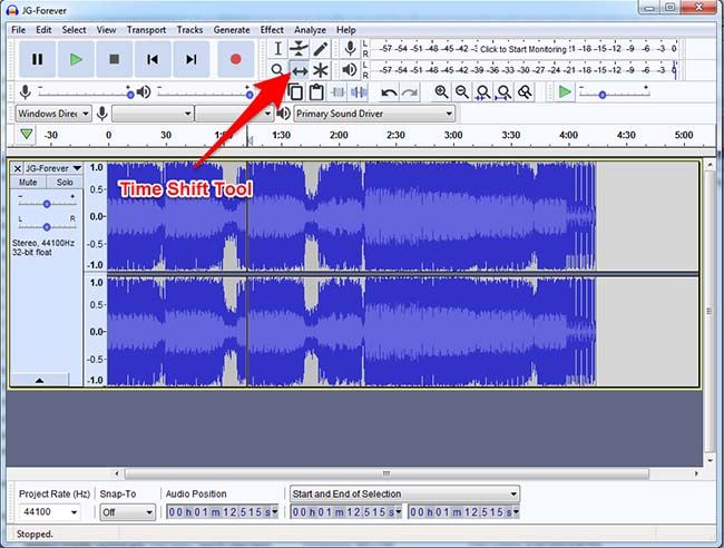 Audacity Time Shift Tool Usage
