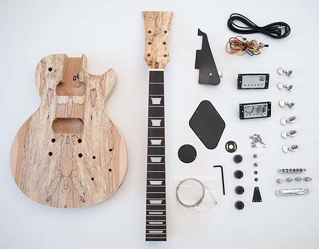 Spalted Maple Les Paul Guitar Kit Components
